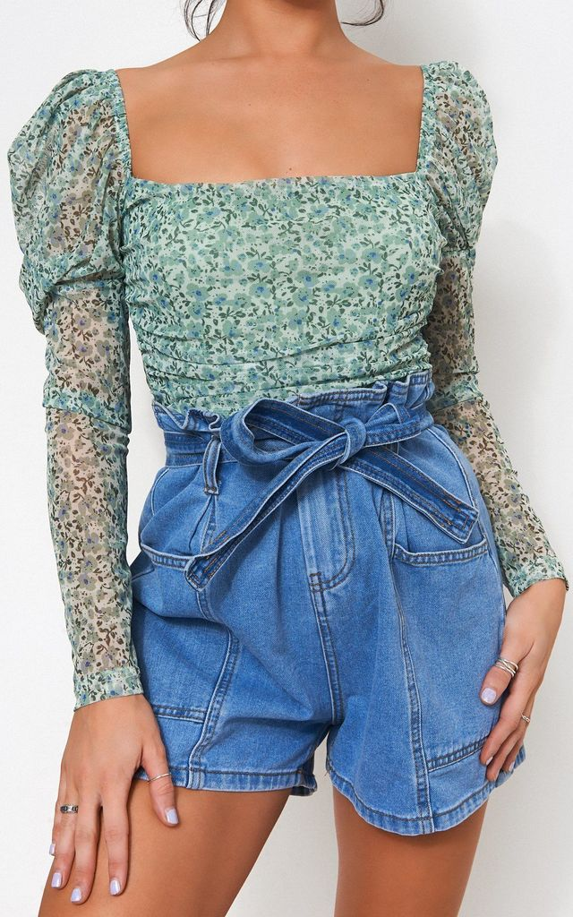 GREEN FLORAL PUFF SLEEVE BODYSUIT by TFB