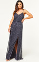 Bridesmaid Maxi Dress with Embellished Scatter Sequins in Gun Metal by ANGELEYE