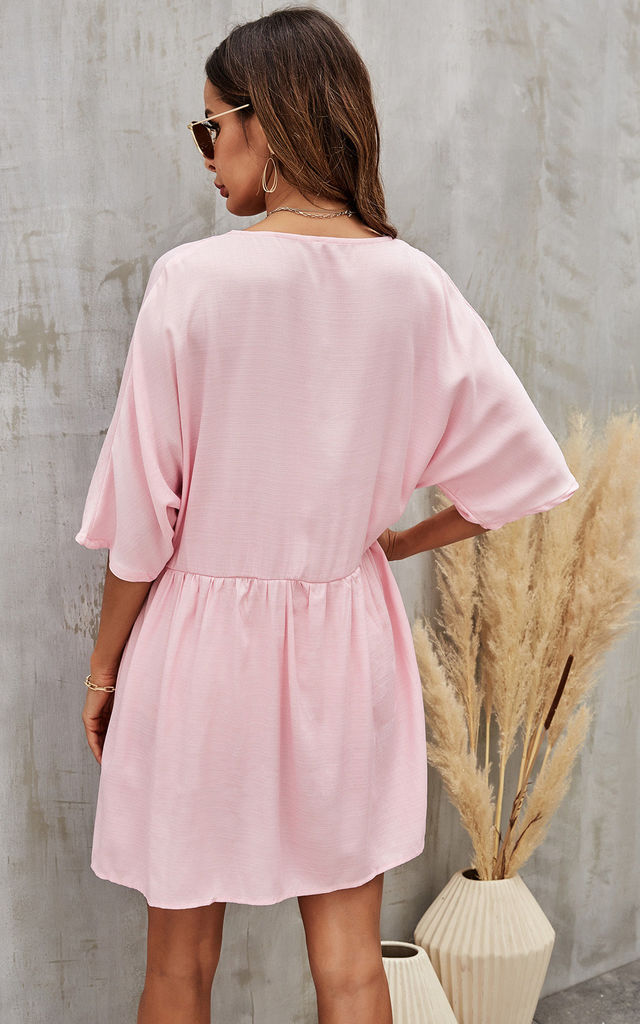 Short Sleeve Button Front Mini Dress In Pink by FS Collection