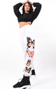 White Oversized Graphic Butterfly Fleeced Joggers by Boutique Store