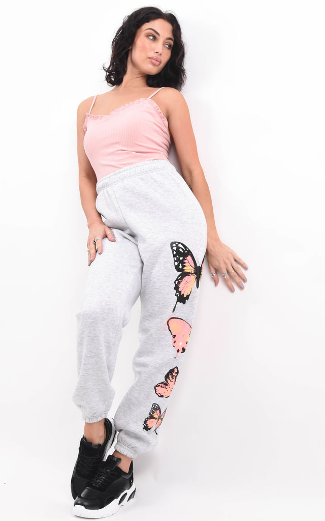 Grey Oversized Graphic Butterfly Fleeced Joggers by Boutique Store