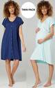 Women's Maternity Breastfeeding Nightdress for Labour 2-pack Blue Grey & Mint by Chelsea Clark
