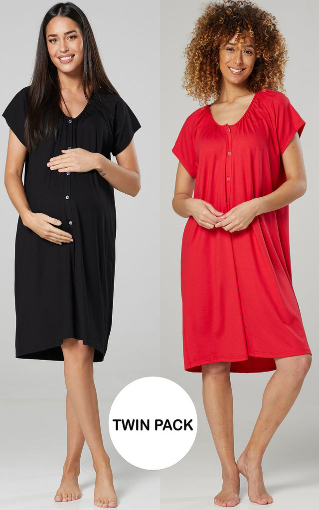 Women's Maternity Breastfeeding Nightdress for Labour 2-pack Black & Red by Chelsea Clark