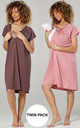 Women's Maternity Breastfeeding Nightdress for Labour 2-pack Cappucino & Dusky Pink by Chelsea Clark