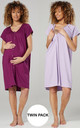 Women's Maternity Breastfeeding Nightdress for Labour 2-pack in Plum & Lavender by Chelsea Clark