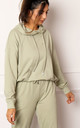 Zoey Organic Cotton Hoodie in Sage Green by One Nation Clothing