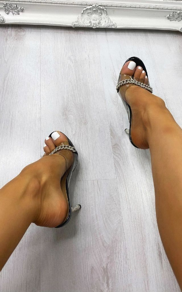 Fleur Chain Detail Heels in Black by IKRUSH