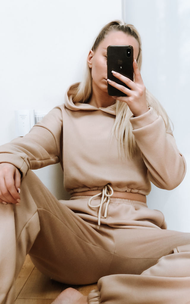Nude Crop Hoodie & Jogger Set by Le Jour Loungewear
