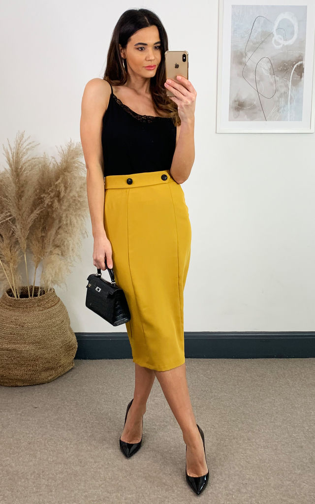 Ayla Pencil Yellow Skirt by Collectif Clothing