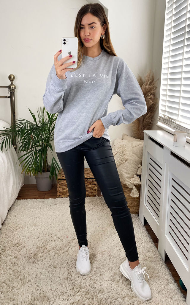 C'est La Vie Slogan Sweatshirt in Grey by Aftershock London