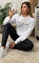C'est La Vie Slogan Sweatshirt in White by Aftershock London