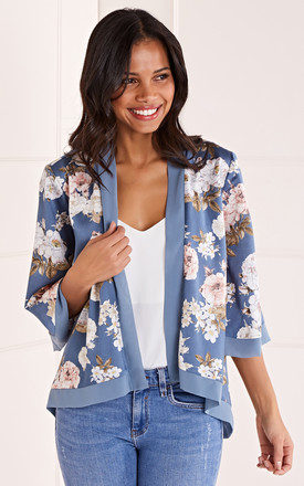 Floral Satin Kimono In Blue by Mela London Product photo