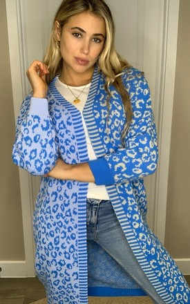 Quinn Mixed Print Long Cardigan Blue/Beige by Girl In Mind Product photo