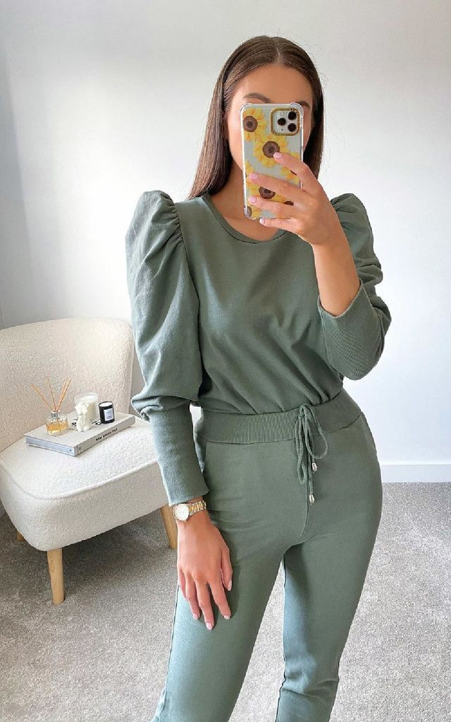Dina Puff Sleeve Co Ord in Khaki by IKRUSH