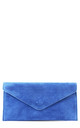Real suede blue leather envelope clutch bag by Hello Handbag