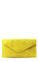 Real suede yellow leather envelope clutch bag by Hello Handbag