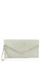 Real suede ivory white leather envelope clutch bag by Hello Handbag