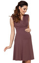 Women's Maternity Nursing Skater Dress Sleeveless Layered Neck in Cappuccino by Chelsea Clark