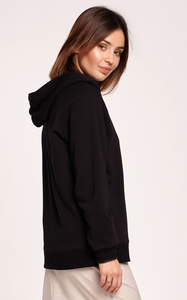 Hoodie with V-Neck in Black by MOE
