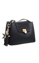 FLAP OVER CROSSBODY WITH TASSEL HANGING DROP BLACK by BESSIE LONDON