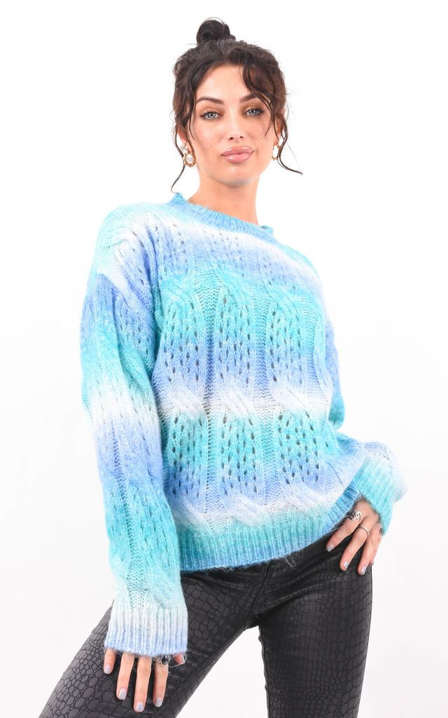 Blue Multi Colour Cable Knit Longsleeve Jumper by Boutique Store