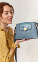 FLAP OVER CROSSBODY WITH TASSEL HANGING DROP BLUE by BESSIE LONDON