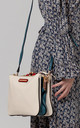 TWO TONE MULTI POCKET CROSS BODY BAG WHITE by BESSIE LONDON