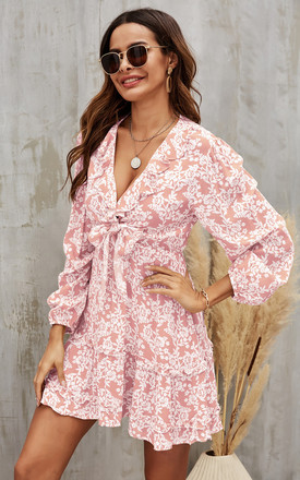 Mini Front Wrap Dress In Pink & White Floral Print by FS Collection Product photo