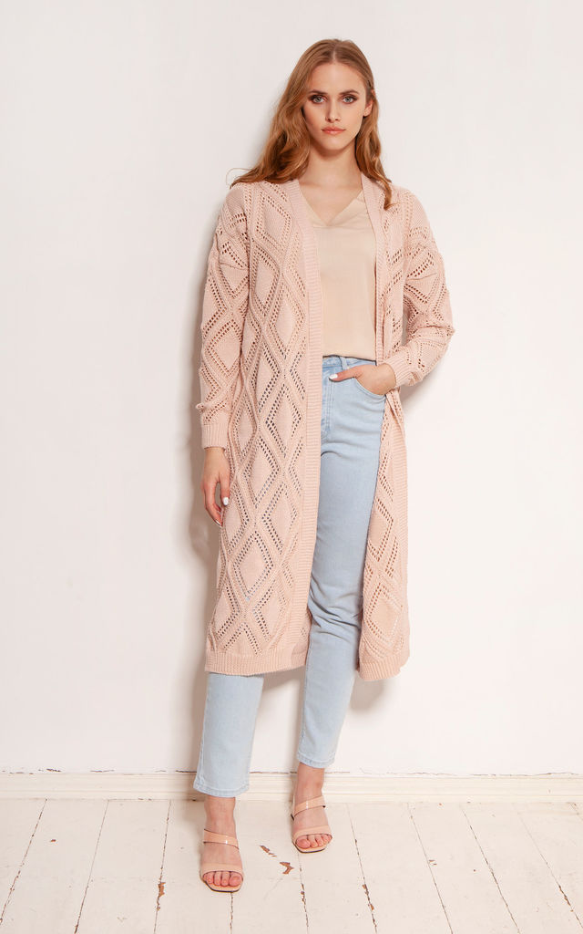 Long Cardigan with Open Front in Pink by Lanti