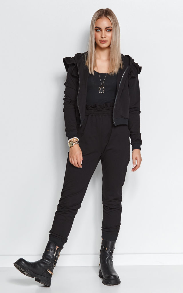 Elegant Tracksuit with Frill and Hoodie in Black by Makadamia