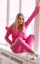 Elegant Tracksuit with Frill and Hoodie in Pink by Makadamia