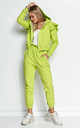 Elegant Tracksuit with Frill and Hoodie in Green by Makadamia