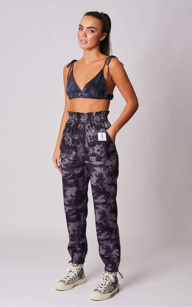 NAVY TIE DYE CARGO PANTS by Rare London