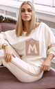 Chic Tracksuit with Decorative Patch in Cream by Makadamia