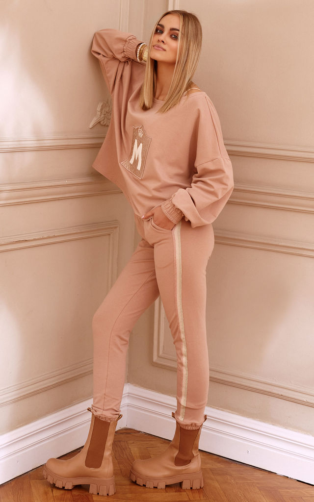 Chic Tracksuit with Decorative Patch in Beige by Makadamia
