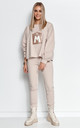 Chic Tracksuit with Decorative Patch in Light Beige by Makadamia