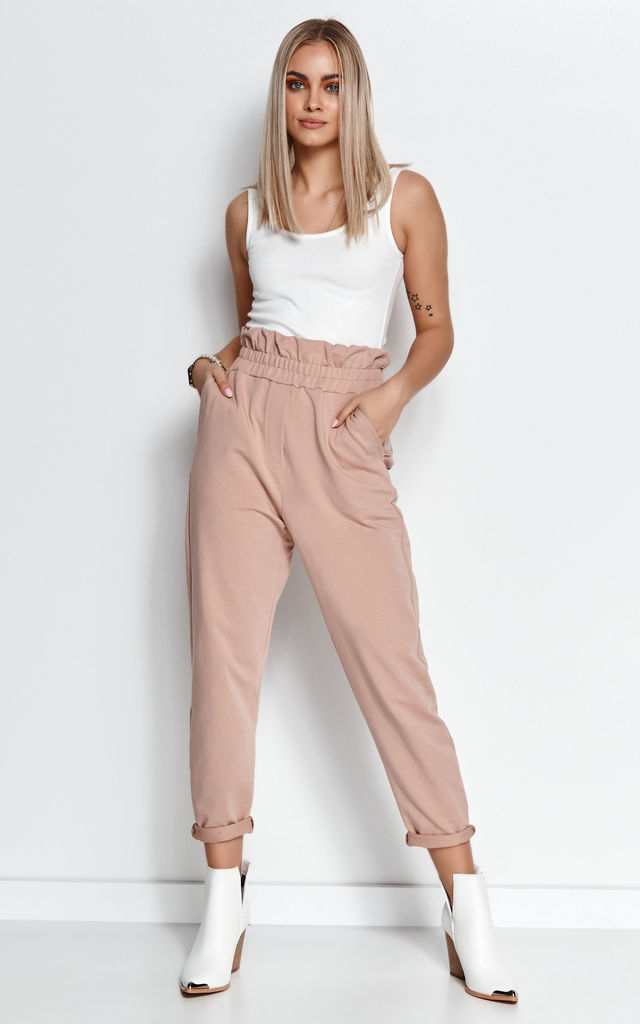 Comfy High Waist Joggers in Dark Beige by Makadamia