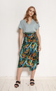 Pencil Skirt with Sash in Green Floral Print by Lanti