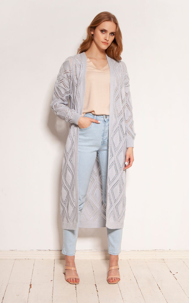 Long Cardigan with Open Front in Grey by Lanti