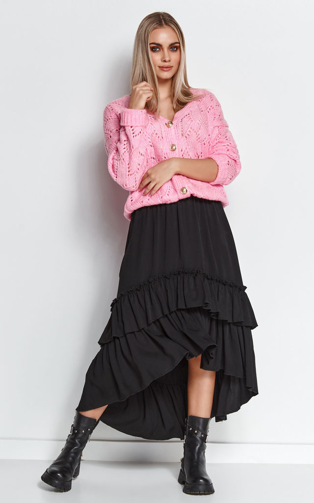 Asymmetric Midi Skirt with Ruffles in Black by Makadamia