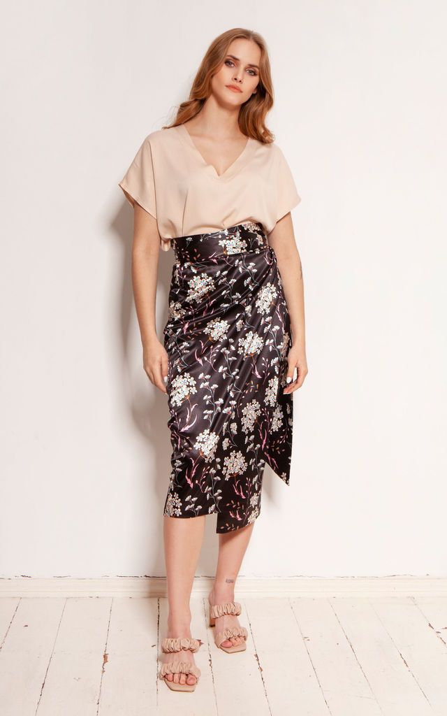 Pencil Skirt with Sash in White Floral Print by Lanti