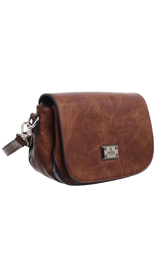 MULTI COMPARTMENT FLAP OVER SADDLE BAG by BESSIE LONDON