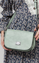 MULTI COMPARTMENT FLAP OVER SADDLE BAG GREEN by BESSIE LONDON