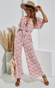 Ruffled Sleeve Jumpsuit In Pink & White Floral by FS Collection
