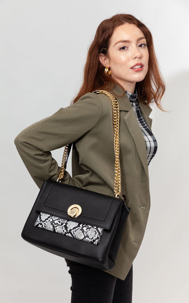 SNAKE PRINT FLAP OVER BAG BLACK by BESSIE LONDON