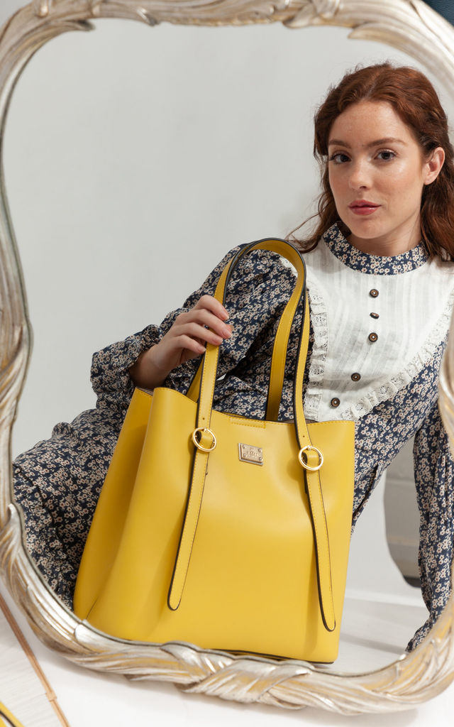 BUCKLE HANDLE SHOULDER BAG YELLOW by BESSIE LONDON