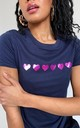 Pink Glitter Hearts Summer T-shirt in Navy by Lime Blonde