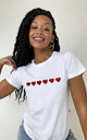 Red Glitter Hearts Loungewear T-shirt in White by Lime Blonde