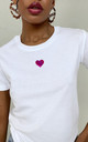 Pink Glitter Heart Loungewear T-shirt in White by Lime Blonde