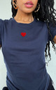 Red Glitter Summer Heart T-shirt in Navy by Lime Blonde